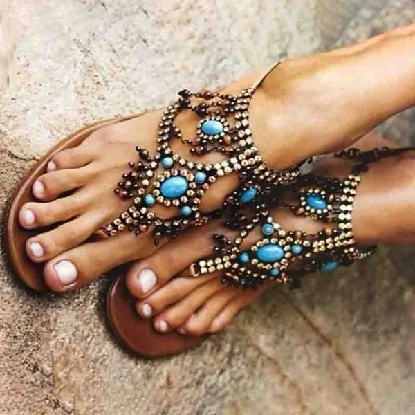 Women PU Sandals Casual Flip Flops Plus Size Bohemia Shoes