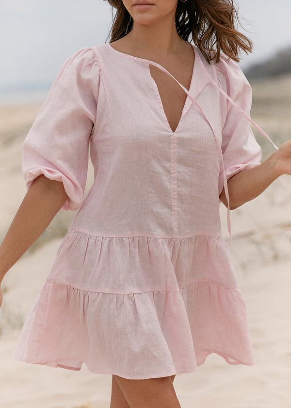 Holiday Linen Dress - Pink