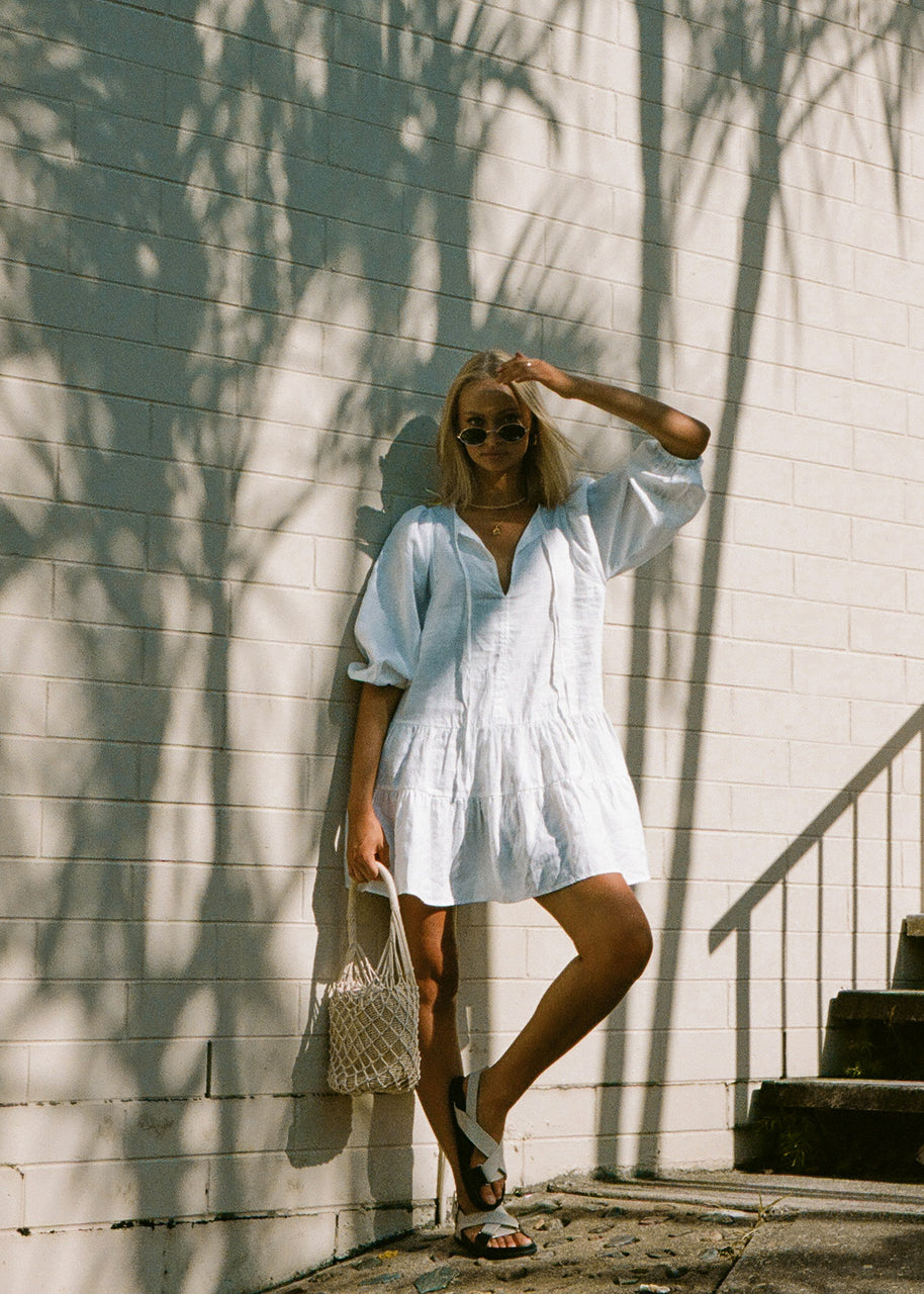 Holiday Linen Dress - White