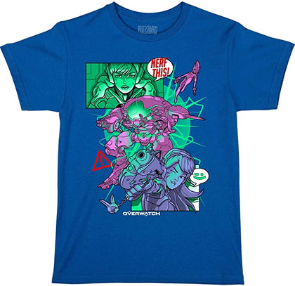 JINX Overwatch Nerf This (D.Va) Boys' Gamer Tee Shirt, Royal Blue