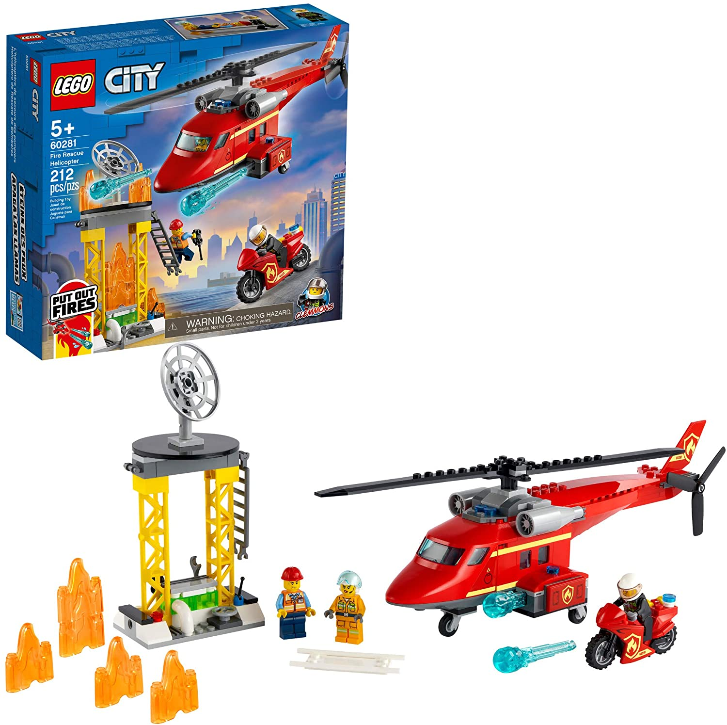 LEGO City 60281 Fire Rescue Helicopter, New 2021 (212 Pieces)