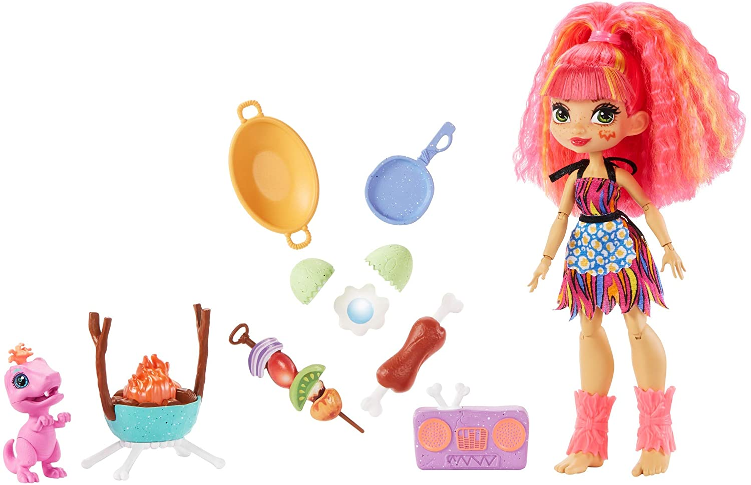 Mattel Cave Club Blazin' BBQ Adventure Playset with Emberly Doll (8 – 10-inch, Pink Hair)
