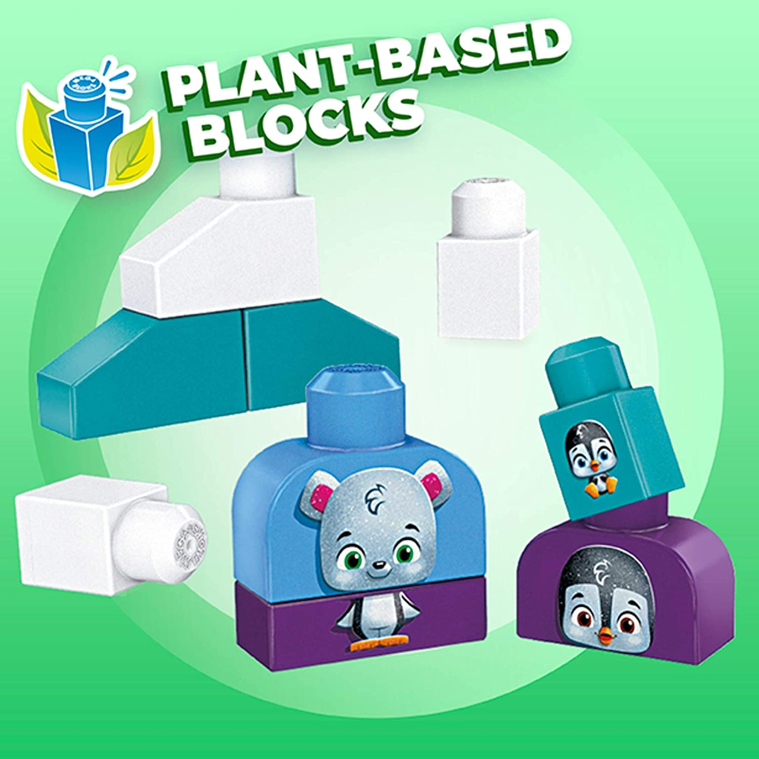 Mega Bloks Polar Friends Preschool Building Set, Plant-Based Blocks