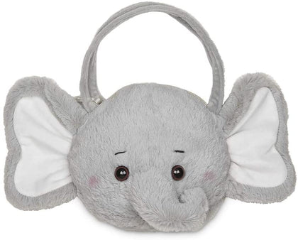 Bearington Spout Carrysome Girls Plush Gray Elephant Stuffed Animal Purse, Handbag 7 inches