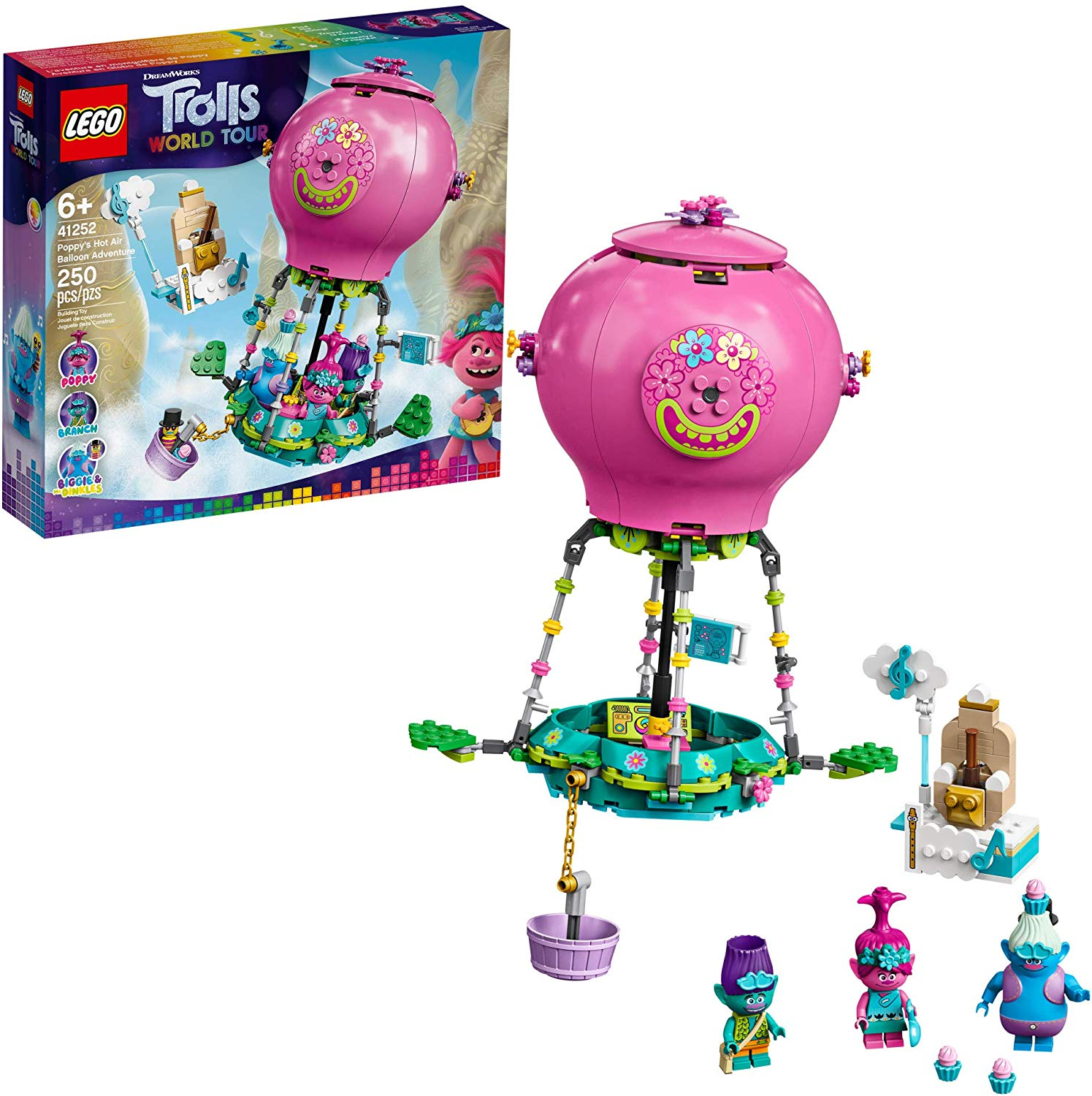 LEGO Trolls World Tour Poppy's Hot Air Balloon Adventure 41252, New 2020 (250 Pieces)