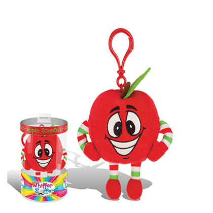 Whiffer Sniffers Apple Red Delicious Scented Plush Backpack Clip, 5 in