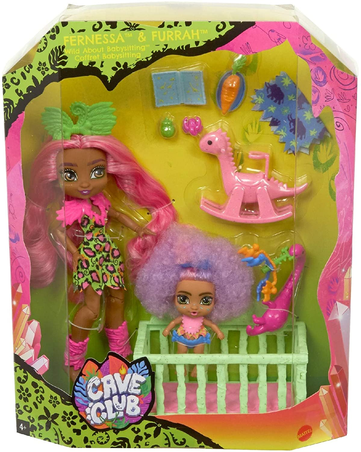 Mattel Cave Club Wild About Babysitting Playset + Fernessa & Furrah Dolls