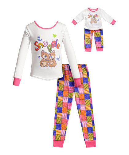 Dollie & Me Girls 2-Piece Pajama Set with Doll Outfit - Ivory Multi