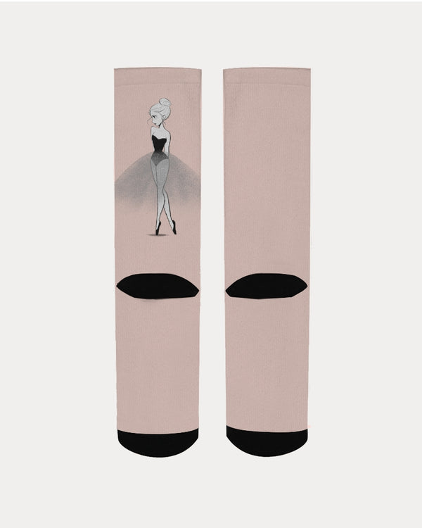 DOLLY DOODLING Ballerina Ballet Blush Pink Women's Socks
