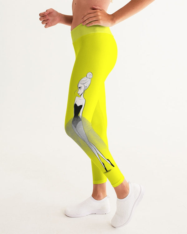 DOLLY DOODLING Ballerina Sunshine Neon Yellow Women's Yoga Pants