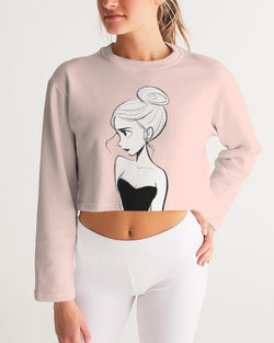 DOLLY DOODLING Ballerina Ballet Blush Pink Women's Cropped Sweatshirt