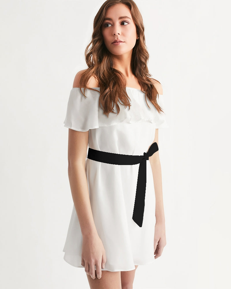 DOLLY WHITE  WITH BLACK BELT Women's Off-Shoulder Dress