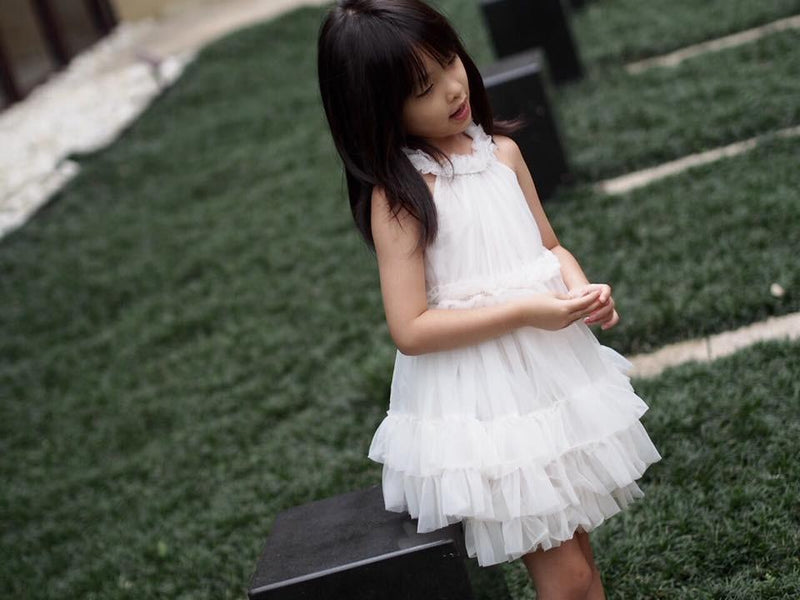 DOLLY RUFFLED CHIFFON DANCE DRESS off-white - DOLLY by Le Petit Tom ®