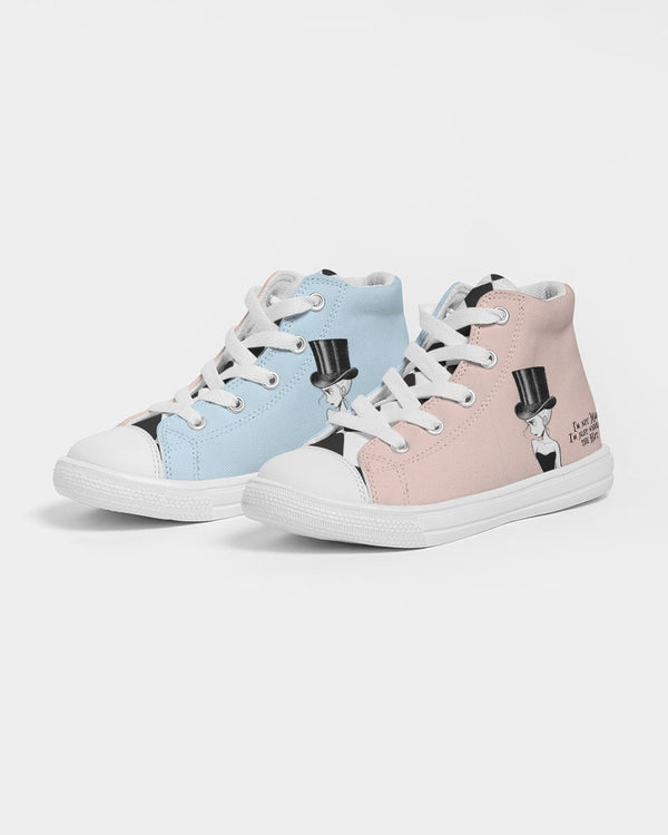 I'M NOT MAD BALLET PINK Kids Hightop Canvas Shoe