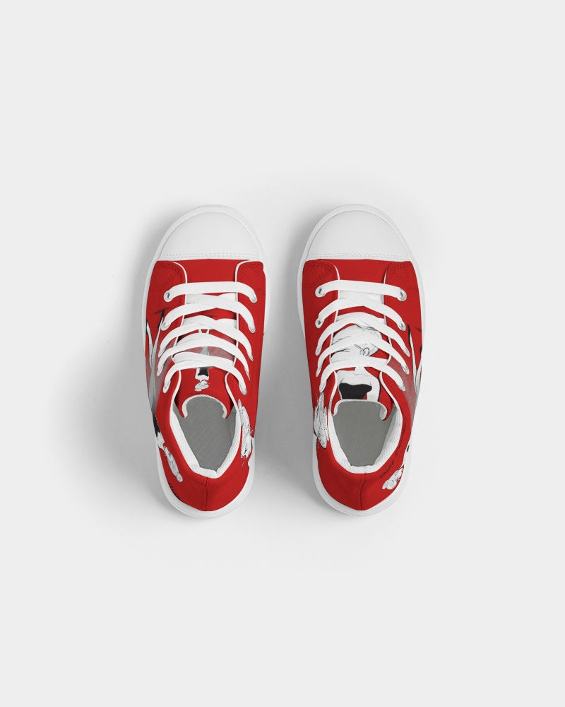 DOLLY DOODLING REALLY RED Kids Hightop Canvas Shoe