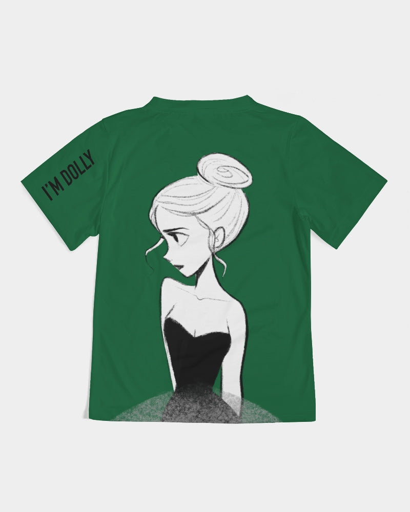 DOLLY DOODLING Ballerina Fairy Forest Green Kids Tee