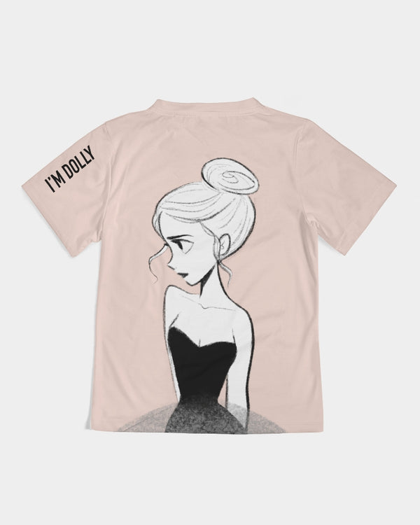 DOLLY DOODLING BALLERINA BALLET BLUSH Kids Tee