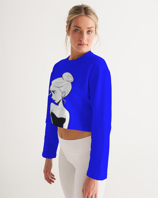 DOLLY DOODLING Ballerina YinMin Blue Women's Cropped Sweatshirt