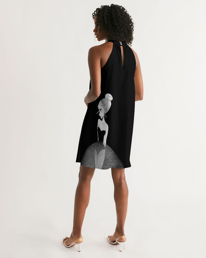 DOLLY DOODLING Ballerina Black Women's Halter Dress