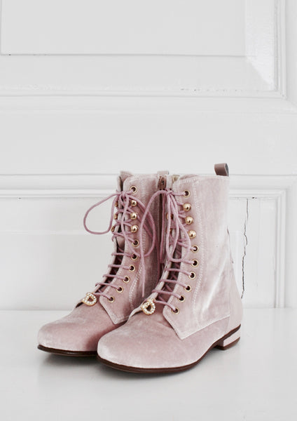 DOLLY by Le Petit Tom ® VELVET VICTORIAN BOOTS 23VELVIC light pink