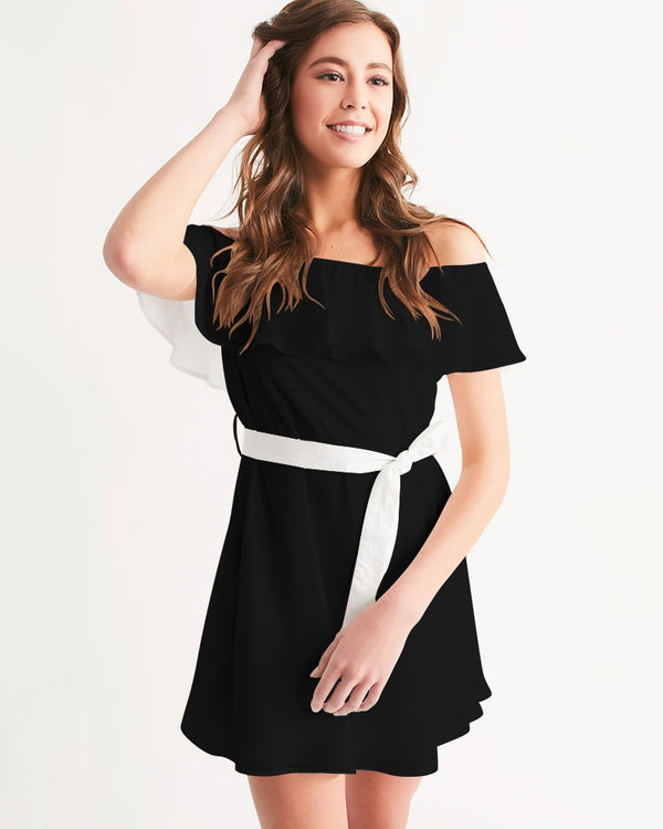DOLLY BLACK WITH WHITE BELT Women's Off-Shoulder Dress