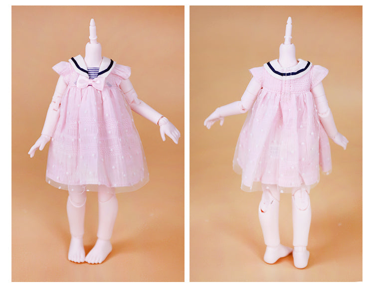 DOLL CLOTHING A16 for LUCKY Doll Bjd 1/6  sailor dress pink