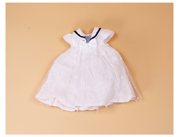 DOLL CLOTHING A18 for LUCKY Doll Bjd 1/6  sailor dress white
