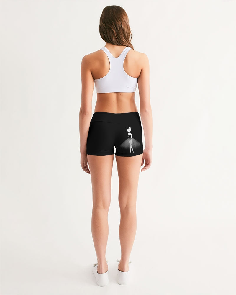 DOLLY DOODLING Ballerina Black Women's Mid-Rise Yoga Shorts