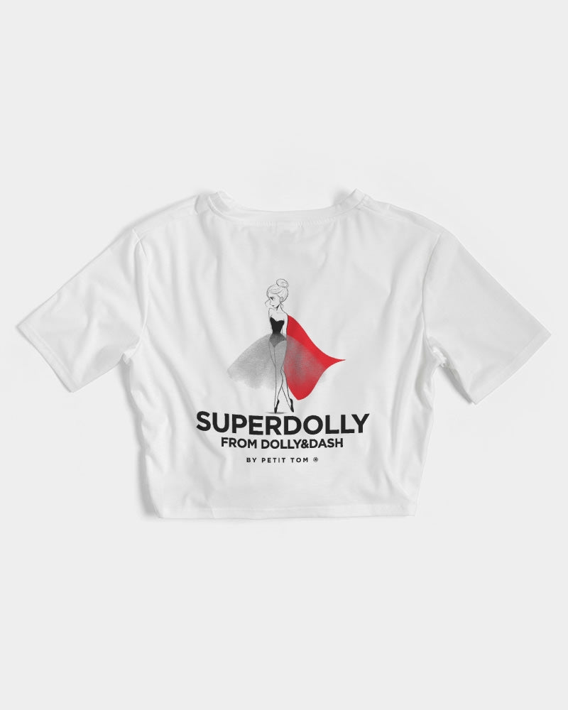 SUPER DOLLY Women's Twist-Front Cropped Tee