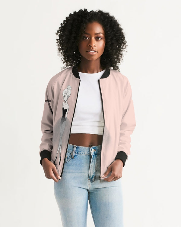 DOLLY DOODLING Ballerina Ballet Blush Pink Women's Bomber Jacket