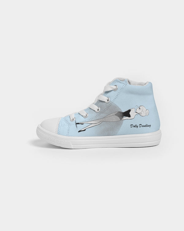 DOLLY DOODLING Ballerina Sky Blue Kids Hightop Canvas Shoe