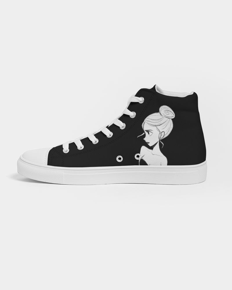 DOLLY DOODLING Ballerina Black Women's Hightop Canvas Shoe