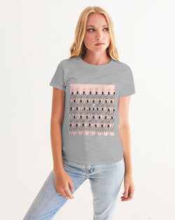 DOLLY DOODLING Ballerina Grey Pink ' STAND OUT FROM THE CROWD' Women's Graphic Tee