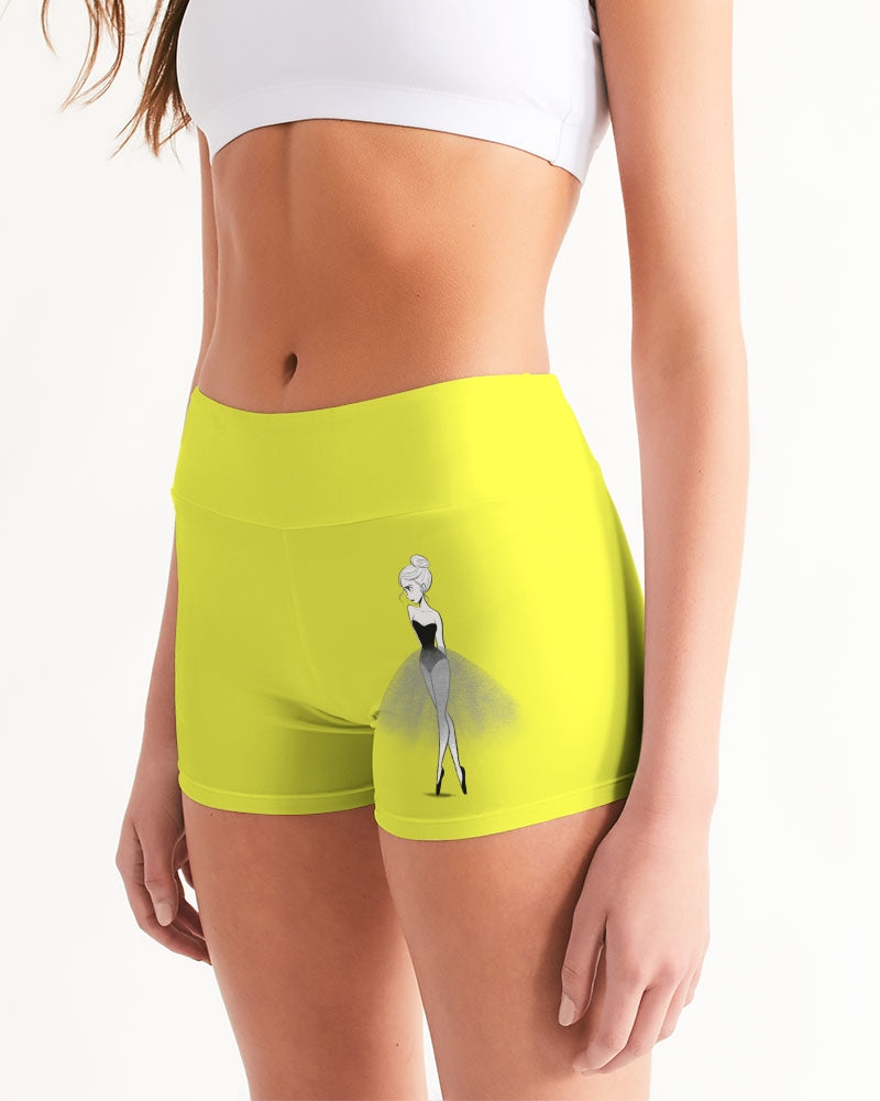 DOLLY DOODLING Ballerina Sunshine Neon Yellow Women's Mid-Rise Yoga Shorts