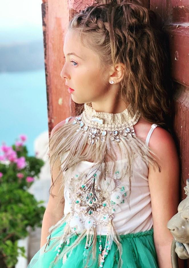 [ OUTLET!] DOLLY by Le Petit Tom ® BOHO dreamcatcher tutu dress turquoise