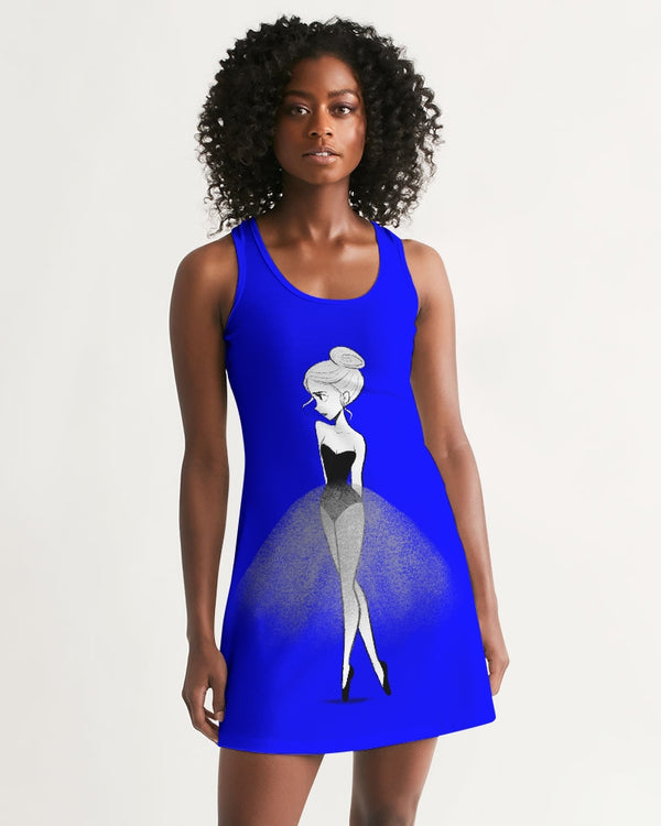 DOLLY DOODLING Ballerina YinMin Blue Women's Racerback Dress