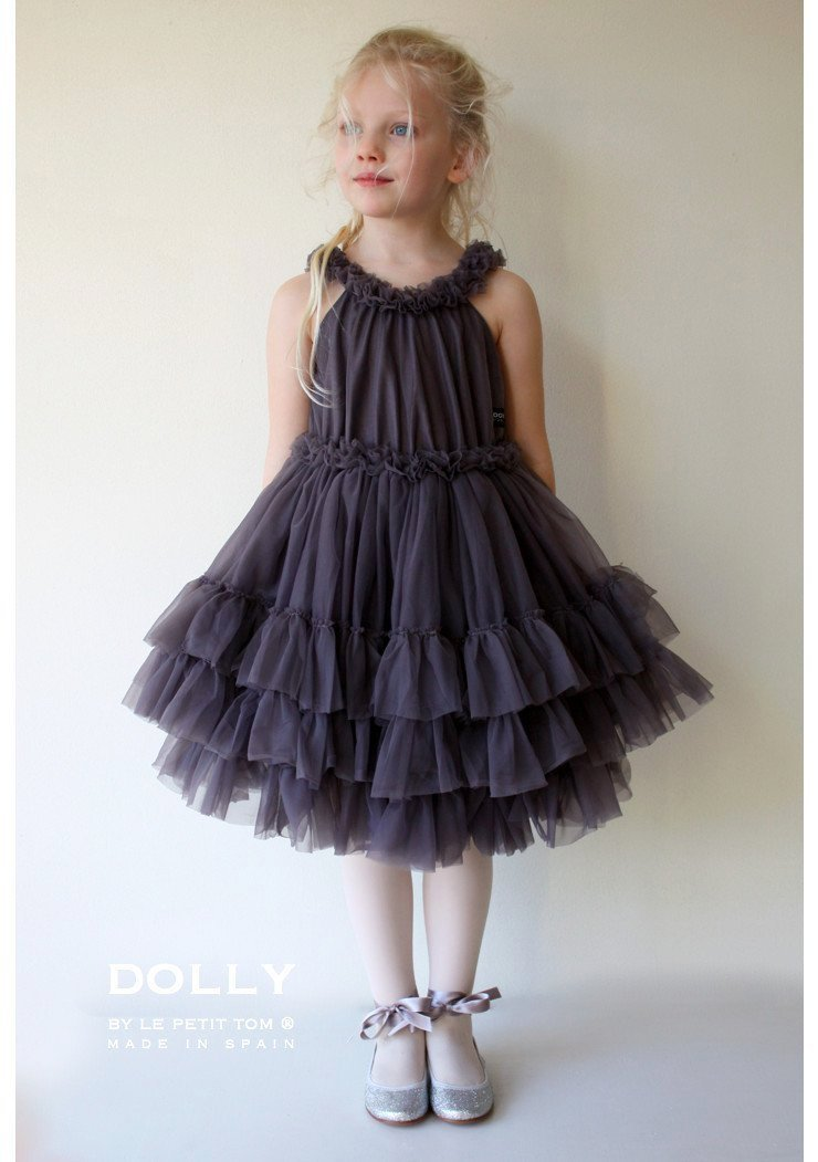 DOLLY by Le Petit Tom ® RUFFLED CHIFFON DANCE DRESS dark grey - DOLLY by Le Petit Tom ®