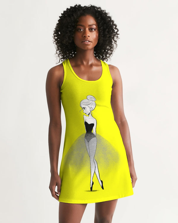 DOLLY DOODLING Ballerina Sunshine Neon Yellow Women's Racerback Dress