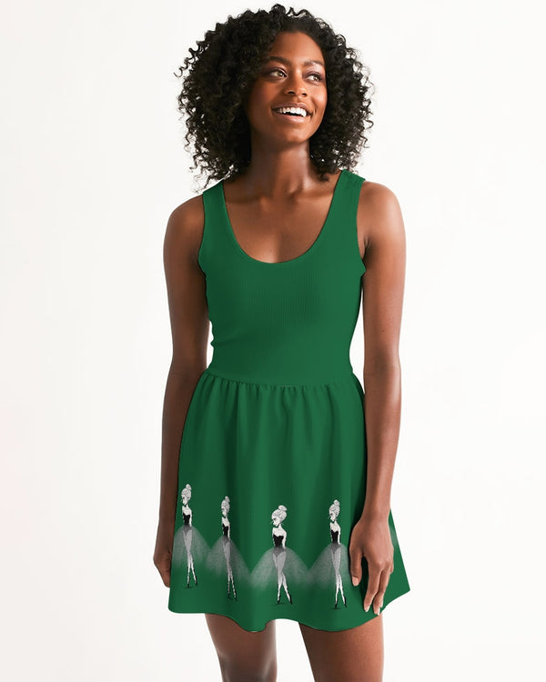 DOLLY DOODLING Ballerina Fairy Forest Green Women's Scoop Neck Skater Dress
