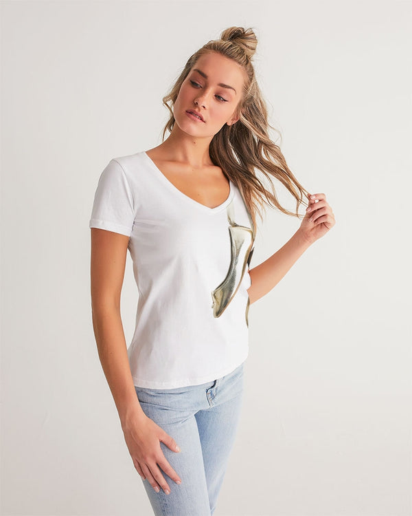 DOLLY GOLD BALLERINAS Women's V-Neck Tee