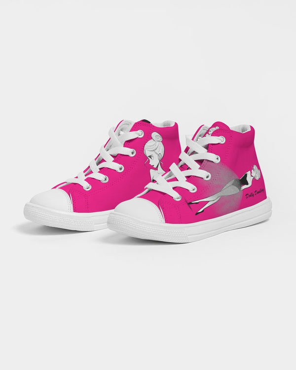 DOLLY DOODLING Ballerina Pure Pink Kids Hightop Canvas Shoe