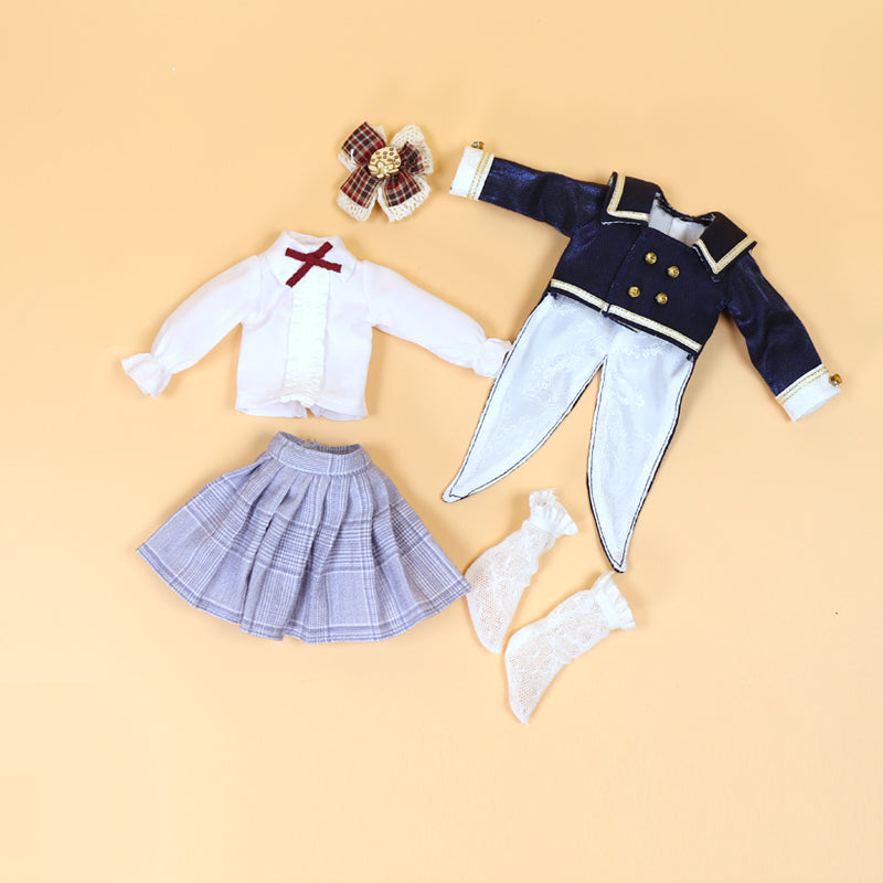 DOLL CLOTHING SET D07 for LUCKY Doll Bjd 1/6 Tux suit jacket, skirt, blouse, socks