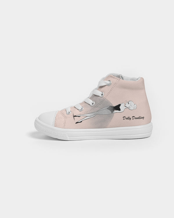 DOLLY DOODLING BALLET BLUSH Kids Hightop Canvas Shoe