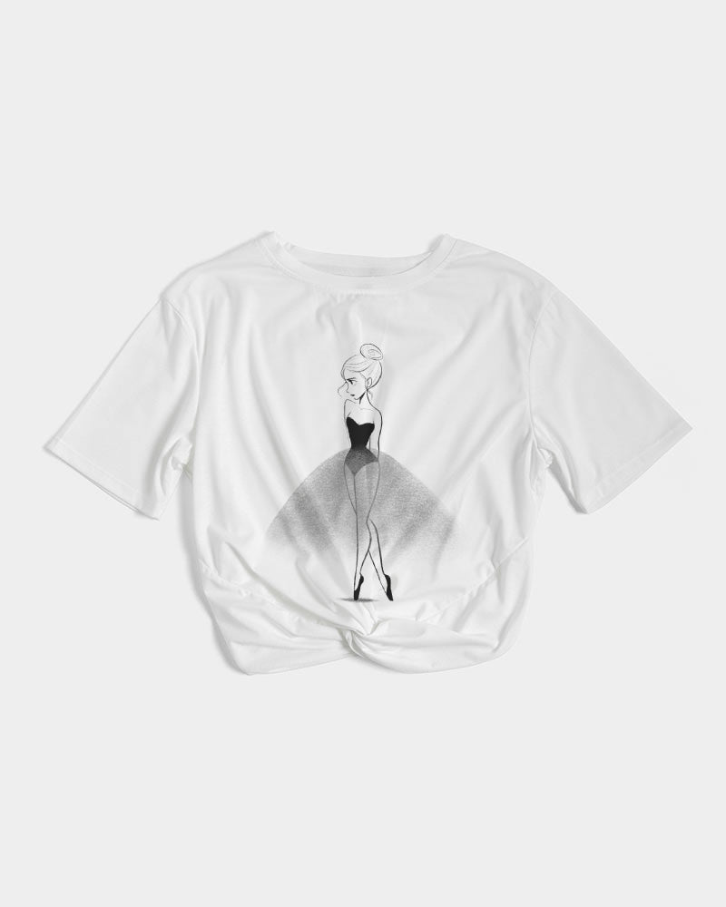DOLLY DOODLING Ballerina Women's Twist-Front Cropped Tee