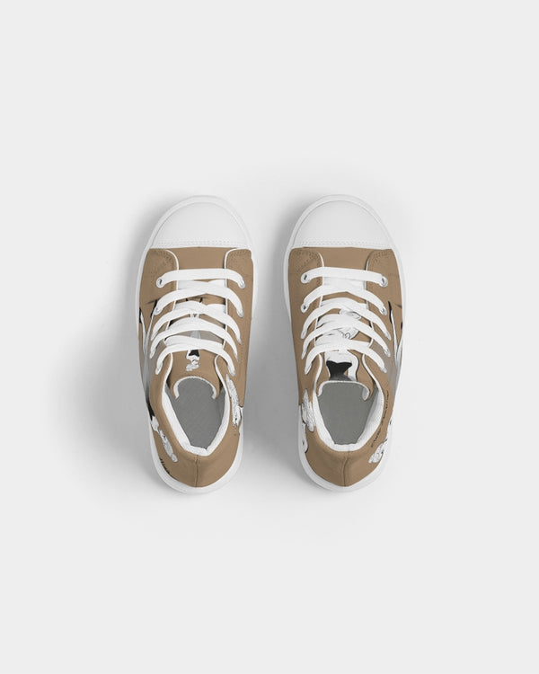 DOLLY DOODLING BAMBI BROWN Kids Hightop Canvas Shoe