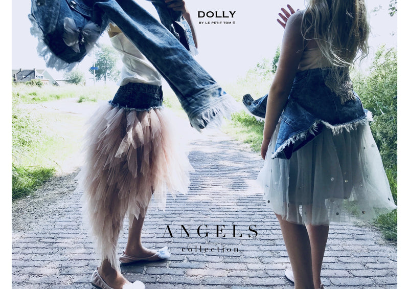 DOLLY by Le Petit Tom ® ANGELS denim waist tutu flamingo angel - DOLLY by Le Petit Tom ®