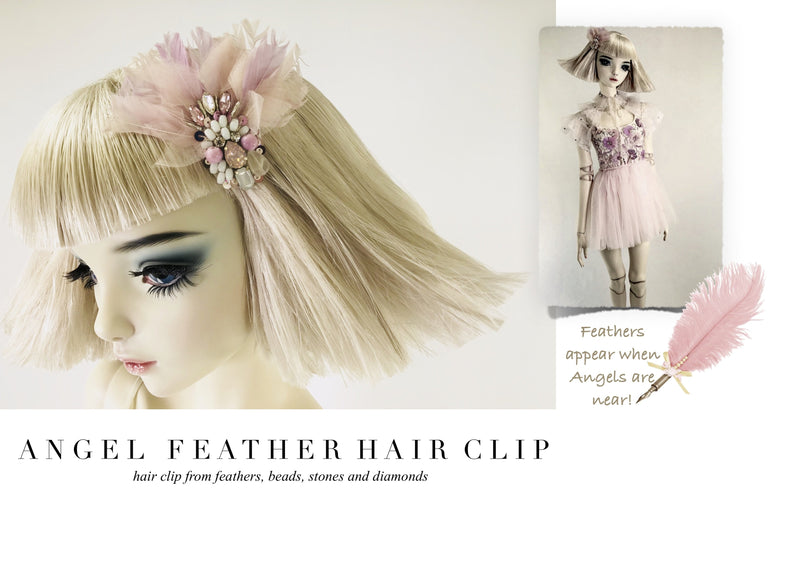 DOLLY by Le Petit Tom ® ANGELS feather hair clip white pink violet - DOLLY by Le Petit Tom ®