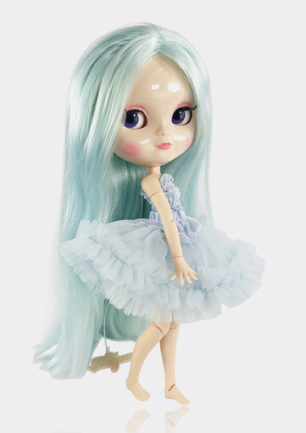 ANGELA Doll LIGHT BLUE incl. Dolly Fashion & Doll Carrier bag