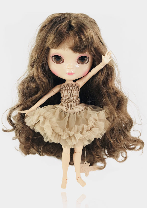 ANGELA Doll ICY doll BROWN BRUNETTE/ TAUPE incl. Dolly Fashion & Doll Carrier bag-dolls-DOLLY by Le Petit Tom ®