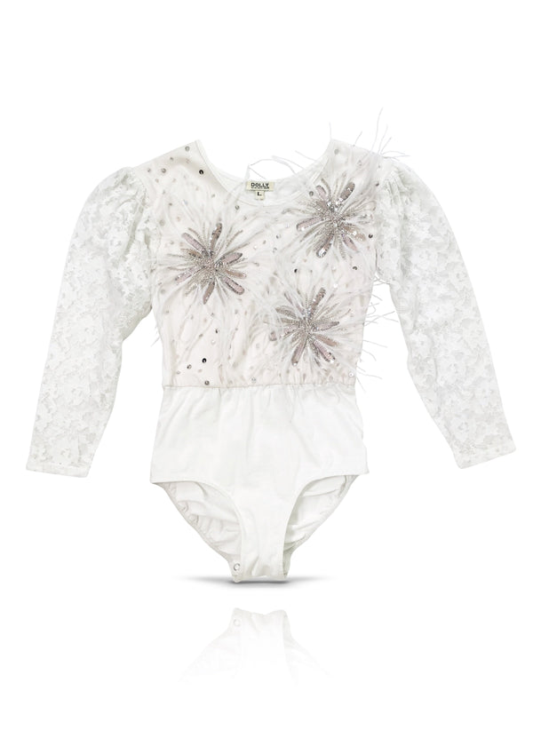 DOLLY by Le Petit Tom ® ANGELS lace romper with feather flowers white - DOLLY by Le Petit Tom ®